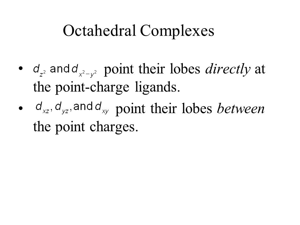 Octahedral Complexes point their lobes directly at the point-charge ligands.