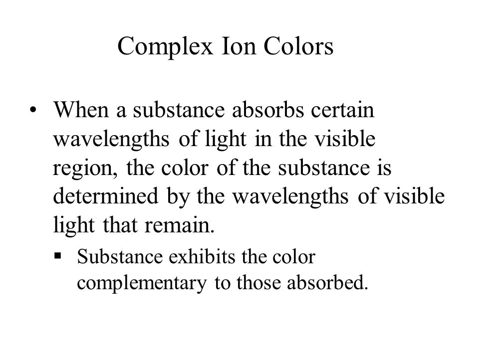 Complex Ion Colors