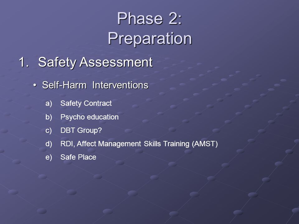 Phase 2: Preparation Safety Assessment Self-Harm Interventions
