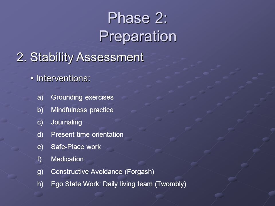 Phase 2: Preparation 2. Stability Assessment Interventions: