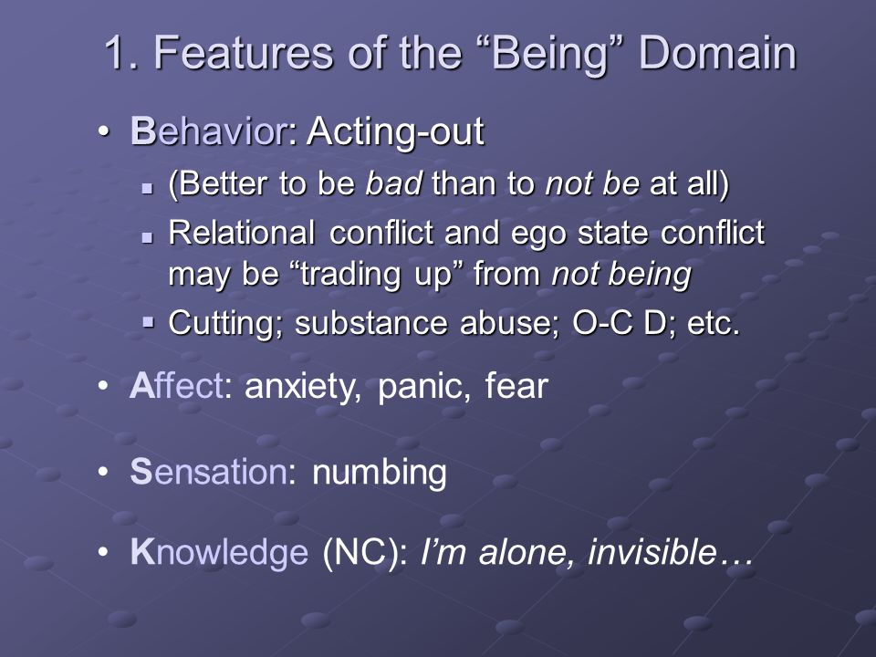 1. Features of the Being Domain