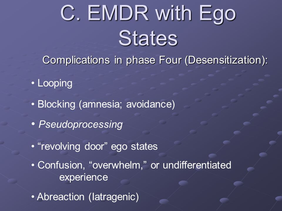 Complications in phase Four (Desensitization):
