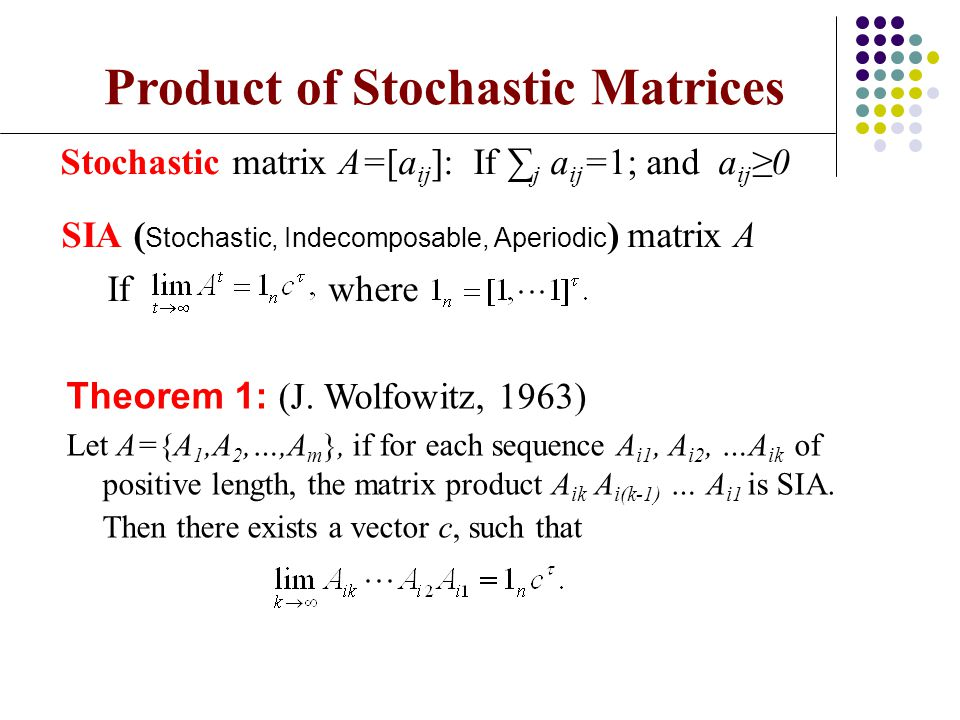 Product of Stochastic Matrices