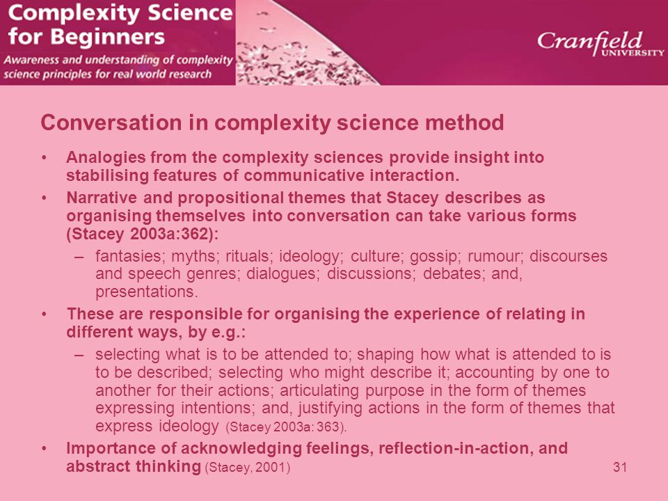 Conversation in complexity science method