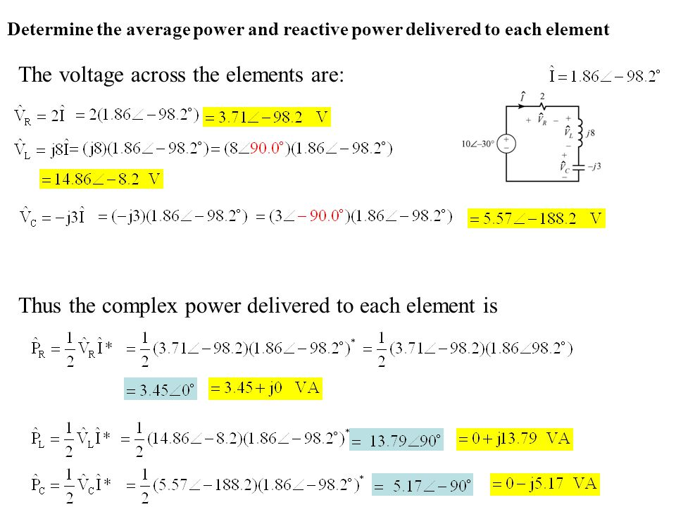 The voltage across the elements are: