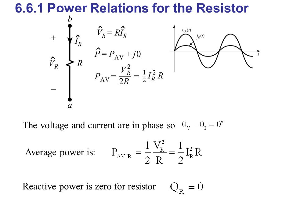 6.6.1 Power Relations for the Resistor