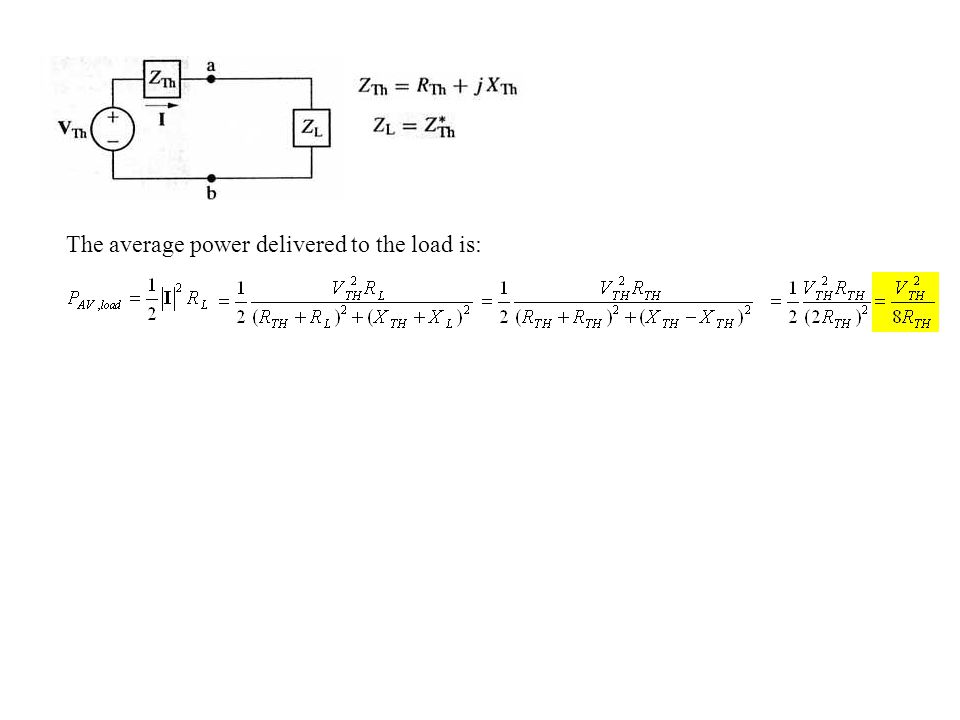 The average power delivered to the load is: