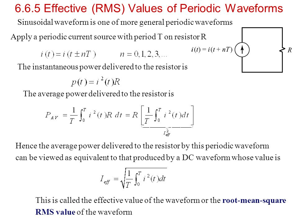 6.6.5 Effective (RMS) Values of Periodic Waveforms