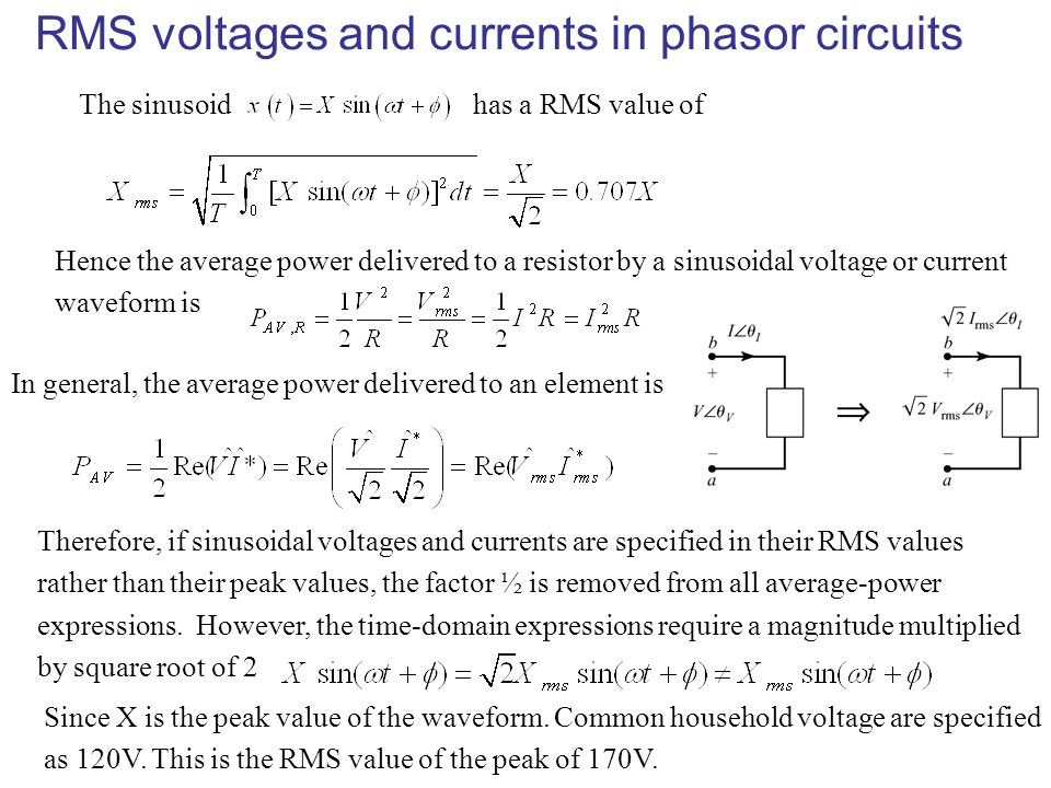 RMS voltages and currents in phasor circuits