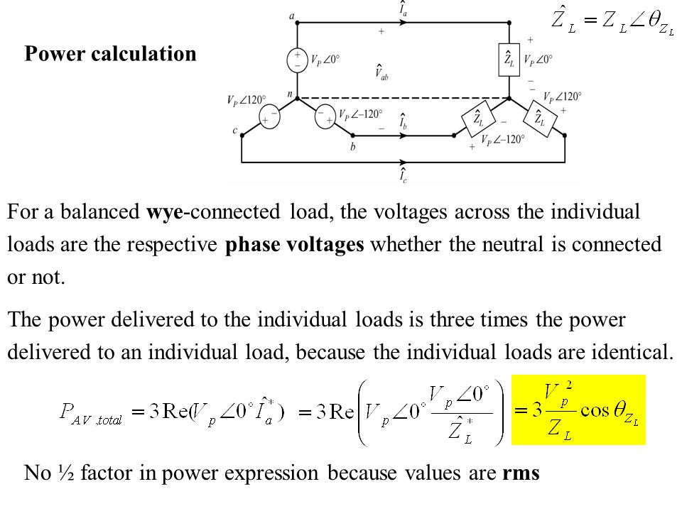 Power calculation For a balanced wye-connected load, the voltages across the individual.