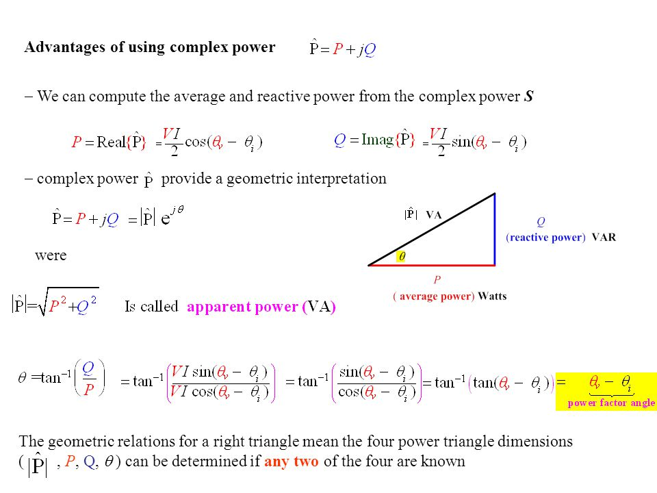 Advantages of using complex power