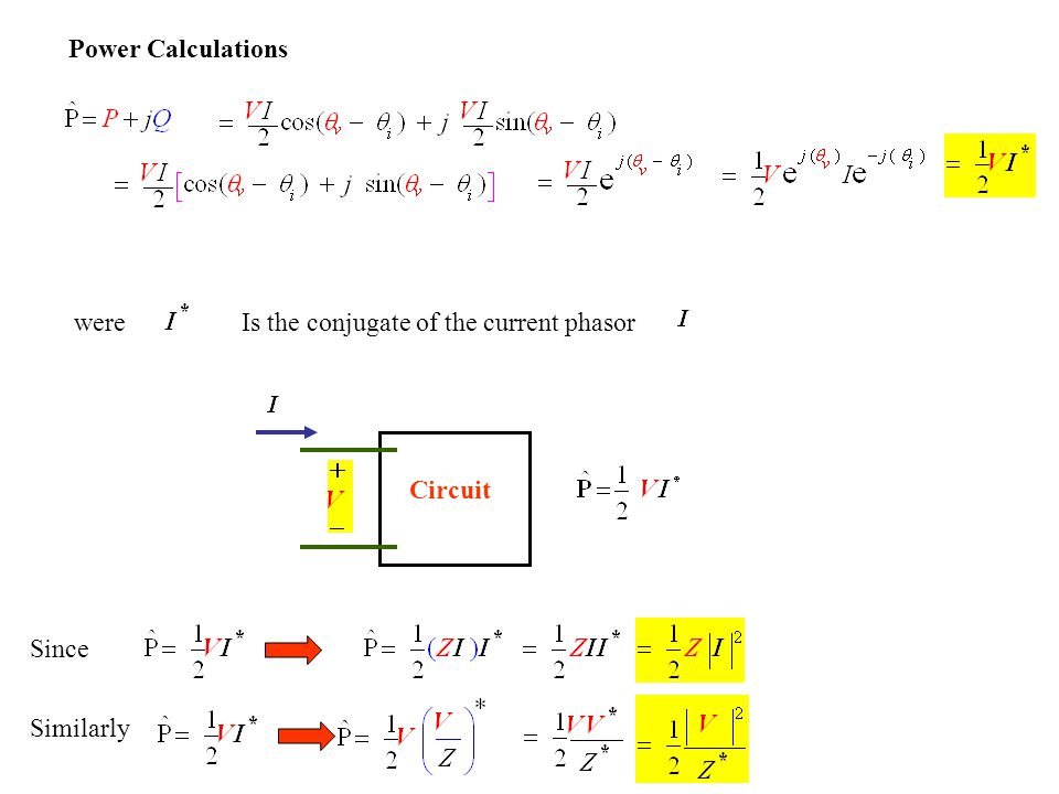 Power Calculations were Is the conjugate of the current phasor Circuit Since Similarly
