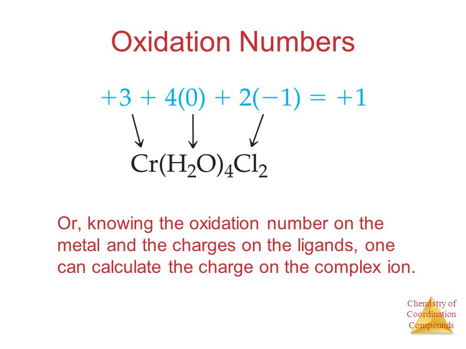 Oxidation Numbers Or, knowing the oxidation number on the metal and the charges on the ligands, one can calculate the charge on the complex ion.