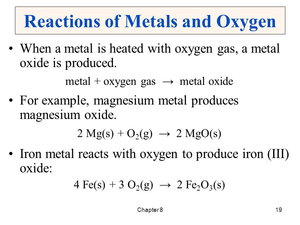 Reactions of Metals and Oxygen