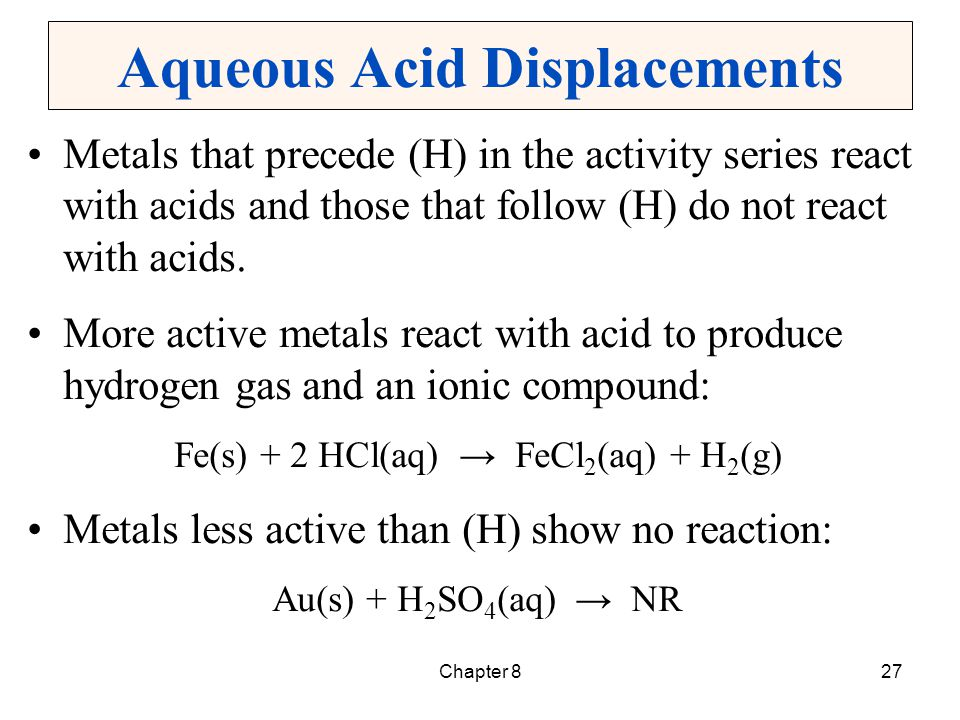 Aqueous Acid Displacements