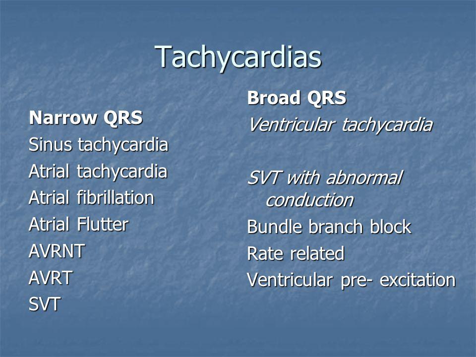 Tachycardias Broad QRS Ventricular tachycardia Narrow QRS
