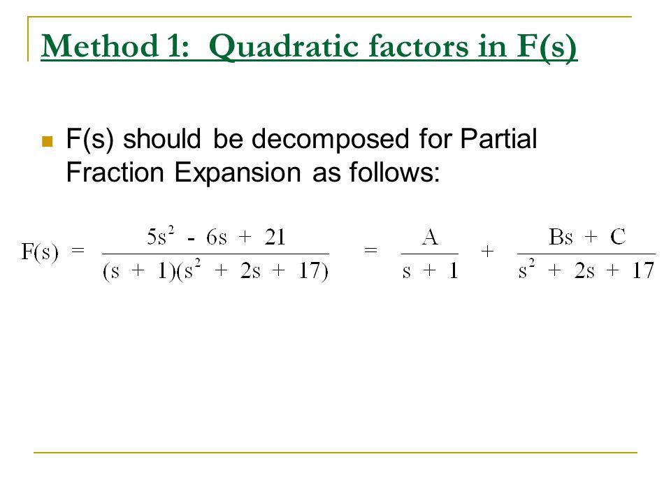 Method 1: Quadratic factors in F(s)
