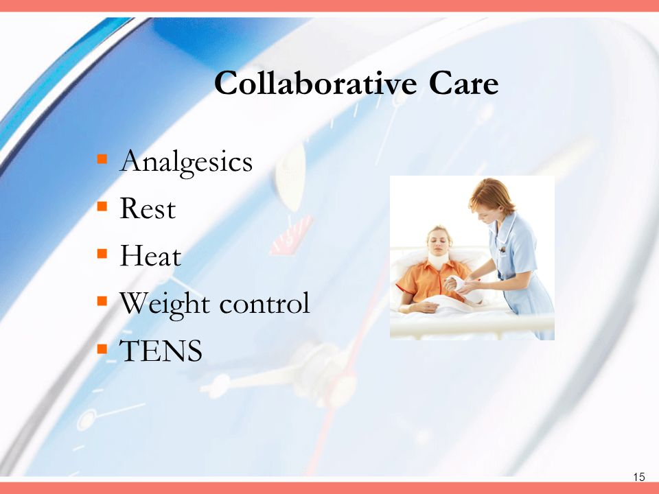 Collaborative Care Analgesics Rest Heat Weight control TENS
