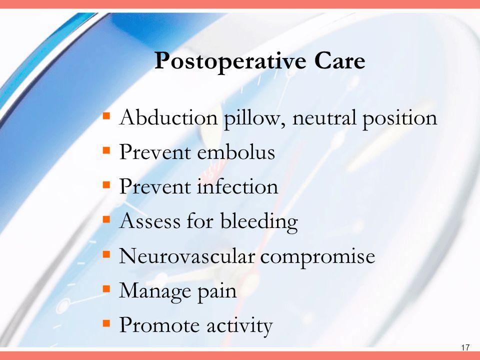 Postoperative Care Abduction pillow, neutral position Prevent embolus