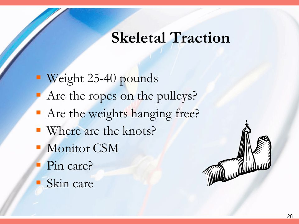 Skeletal Traction Weight 25-40 pounds Are the ropes on the pulleys