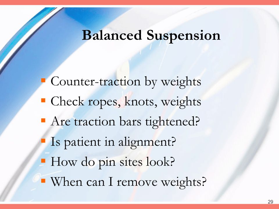 Balanced Suspension Counter-traction by weights