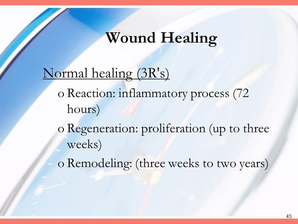 Wound Healing Normal healing (3R s)