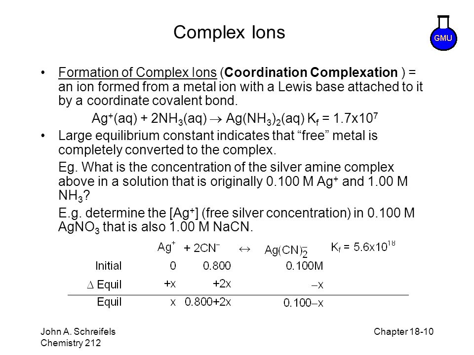 Ag+(aq) + 2NH3(aq)  Ag(NH3)2(aq) Kf = 1.7x107