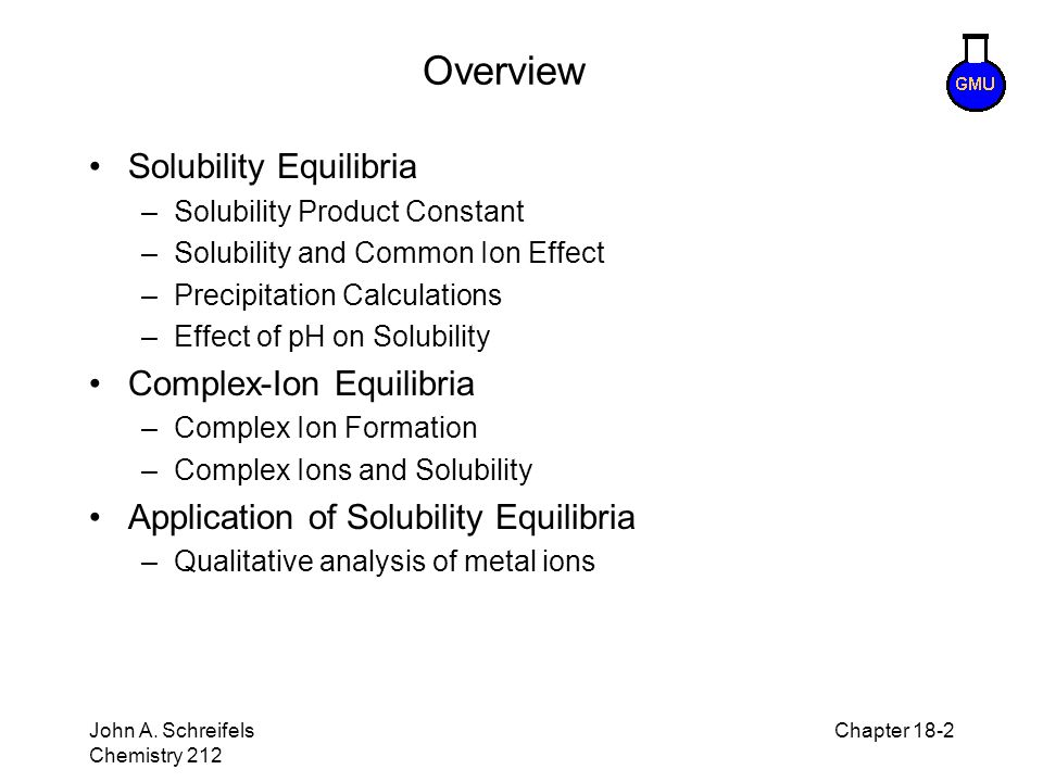 Overview Solubility Equilibria Complex-Ion Equilibria