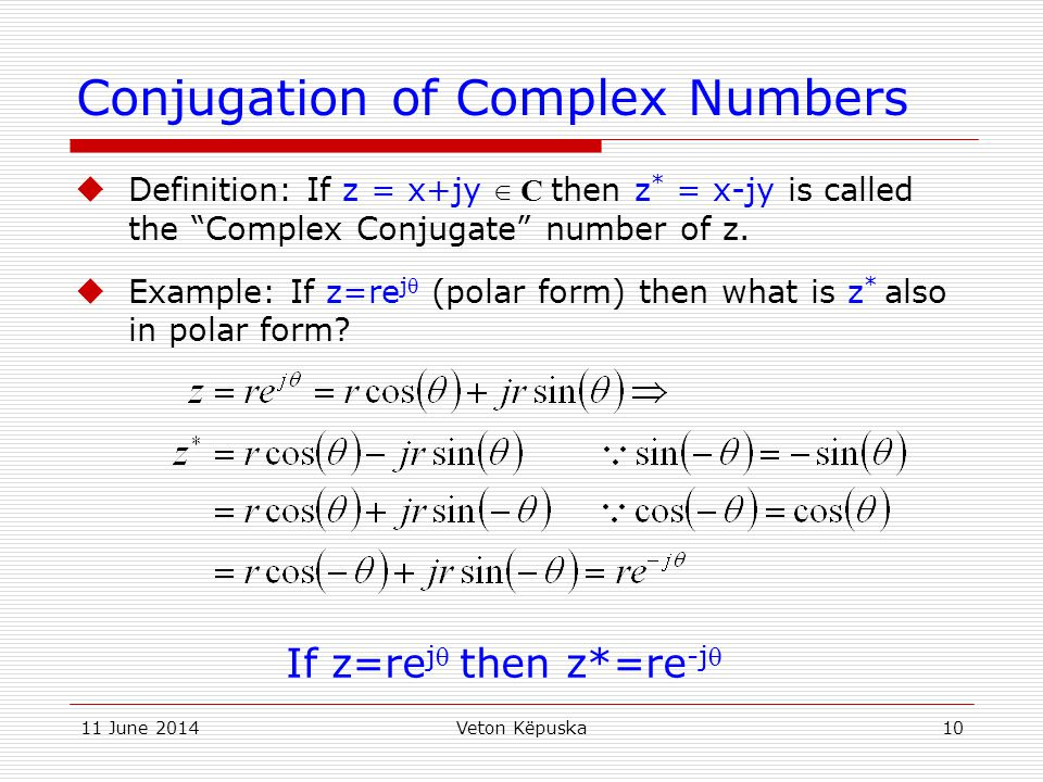 Conjugation of Complex Numbers