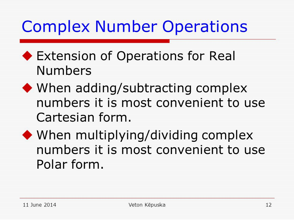 Complex Number Operations