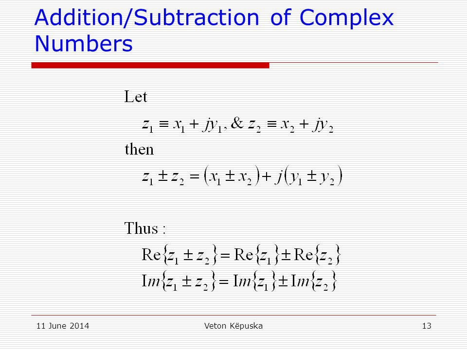 Addition/Subtraction of Complex Numbers