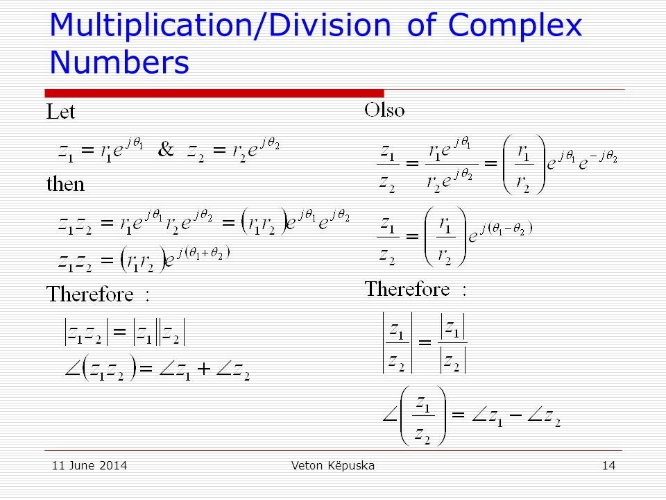 Multiplication/Division of Complex Numbers
