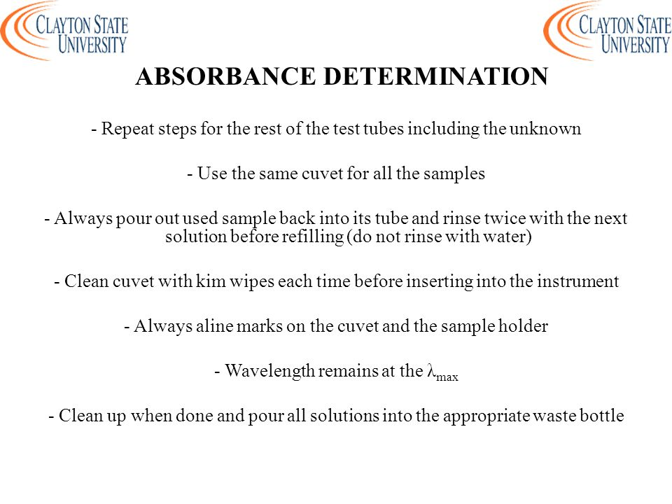 ABSORBANCE DETERMINATION