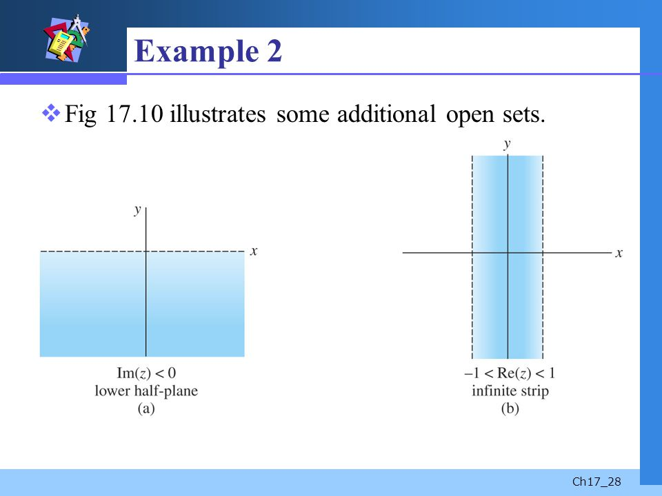 Example 2 Fig 17.10 illustrates some additional open sets.