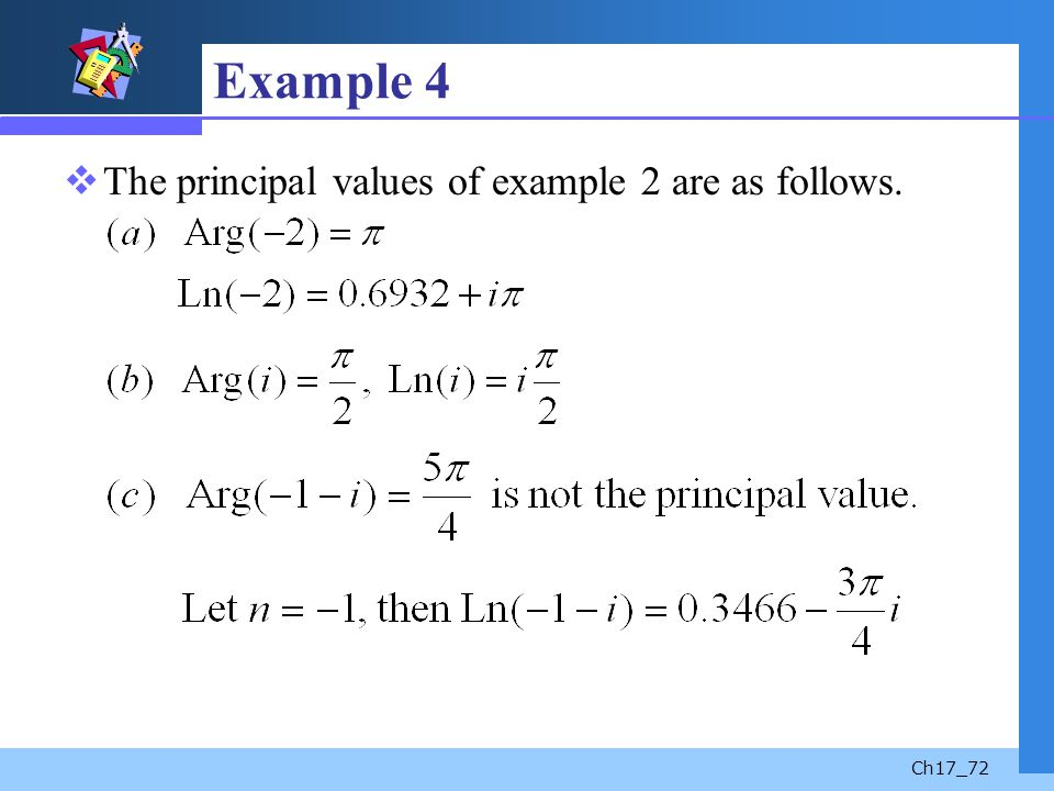 Example 4 The principal values of example 2 are as follows.