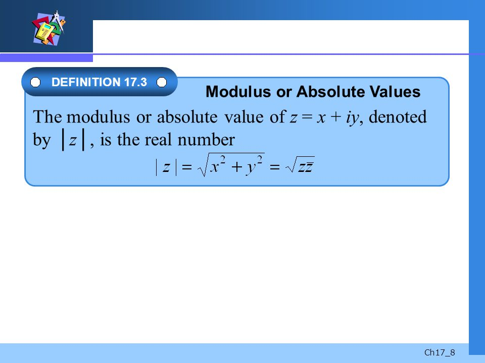 Modulus or Absolute Values