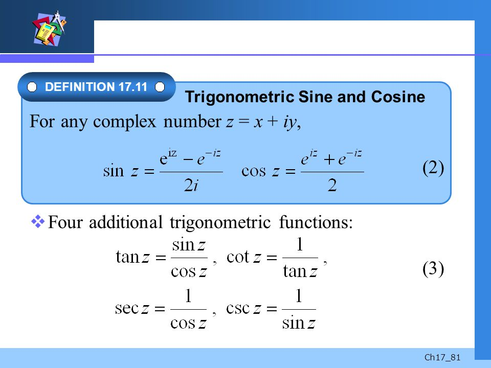 For any complex number z = x + iy, (2)