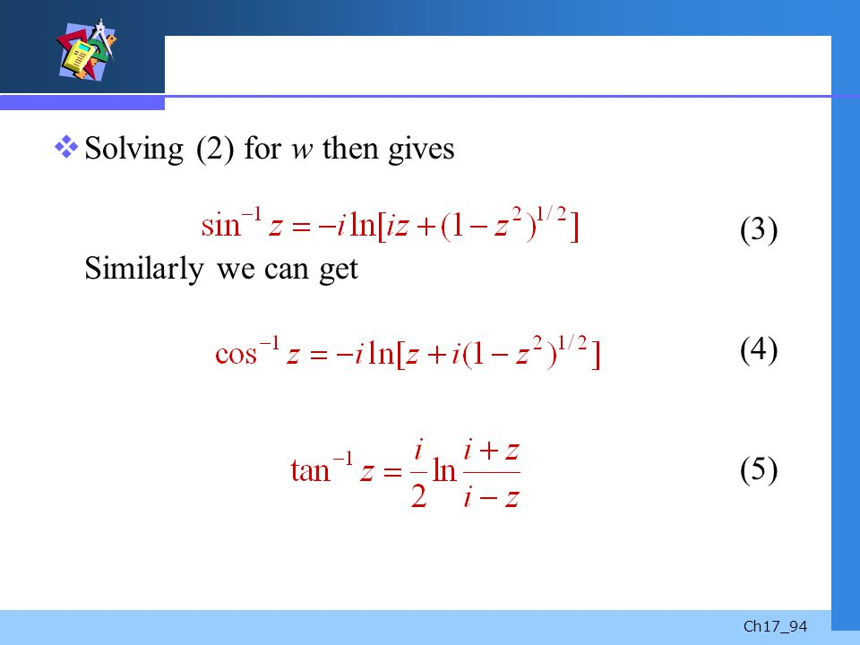 Solving (2) for w then gives (3) Similarly we can get (4) (5)