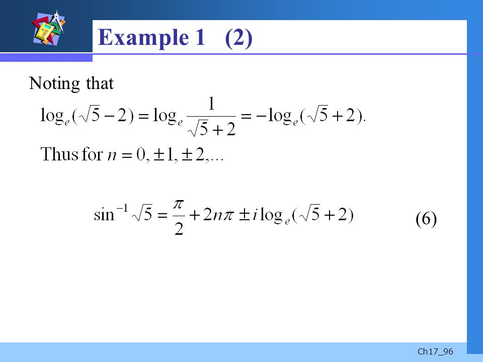 Example 1 (2) Noting that (6)