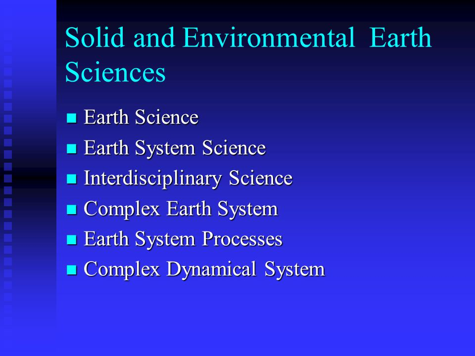 Solid and Environmental Earth Sciences