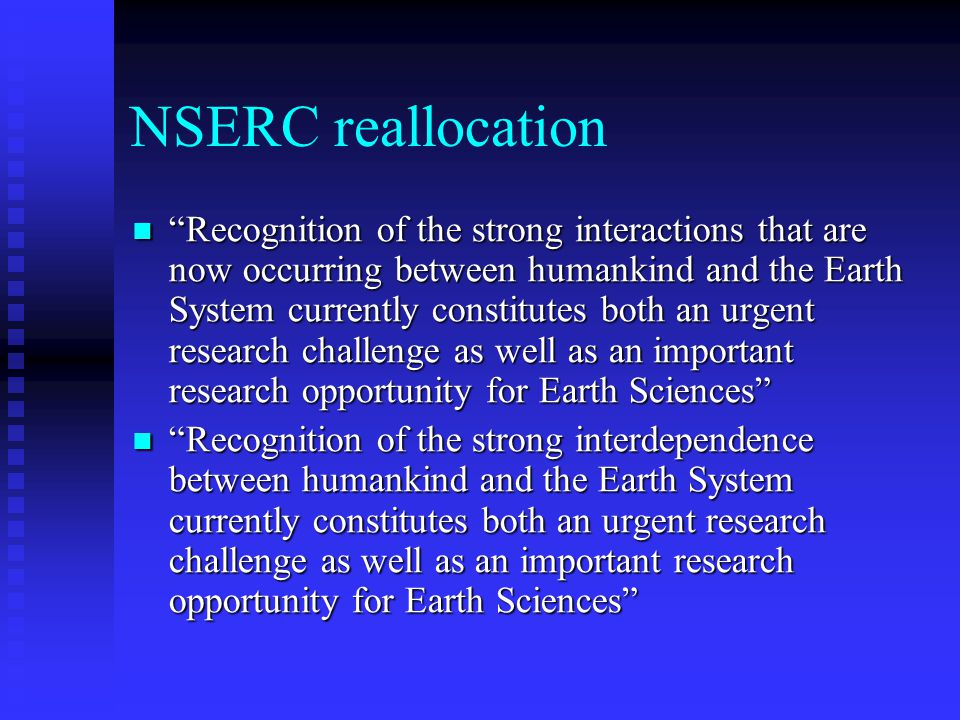NSERC reallocation