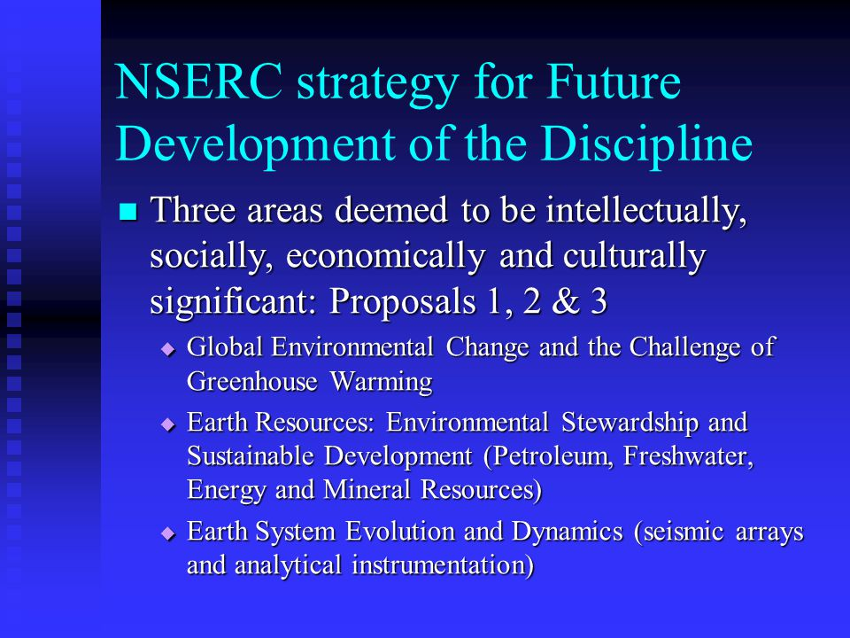 NSERC strategy for Future Development of the Discipline