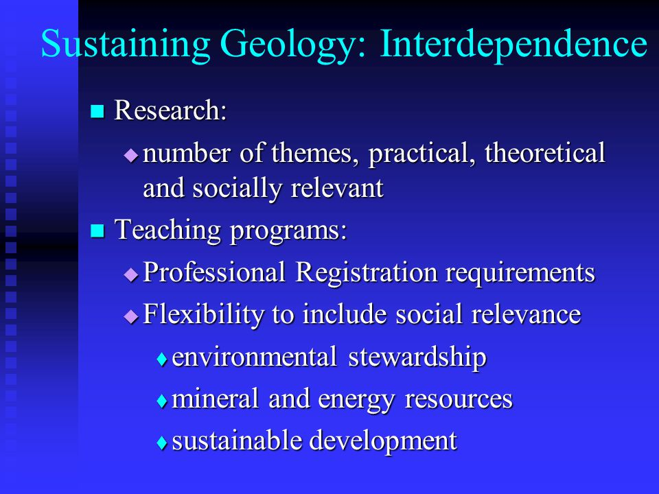Sustaining Geology: Interdependence