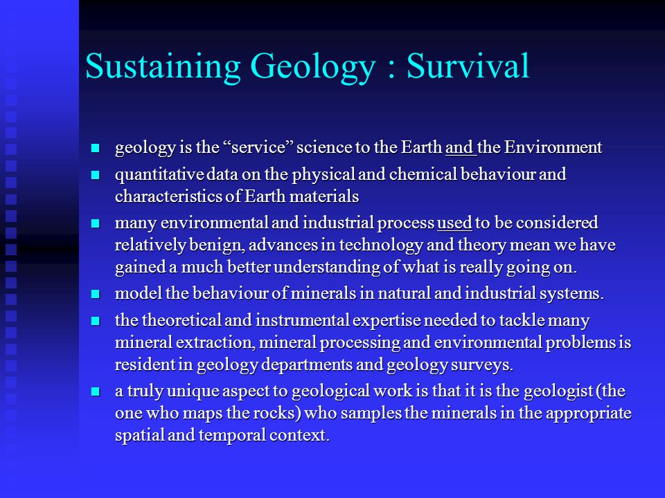 Sustaining Geology : Survival