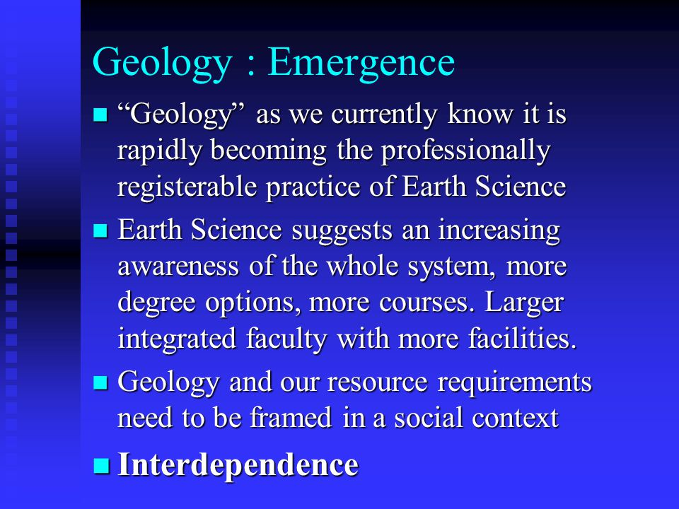Geology : Emergence Interdependence