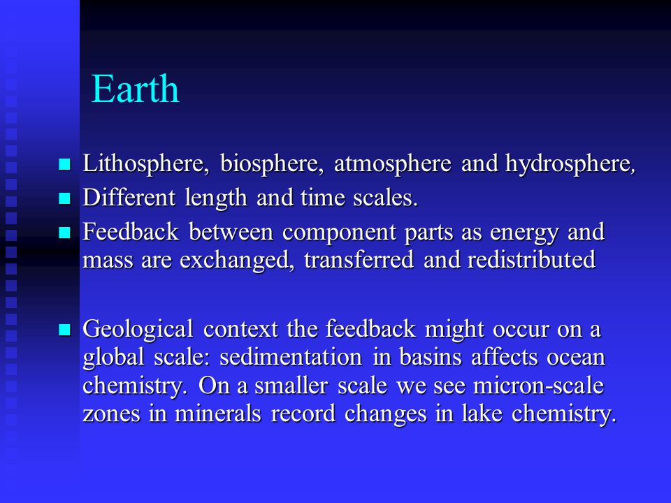 Earth Lithosphere, biosphere, atmosphere and hydrosphere,