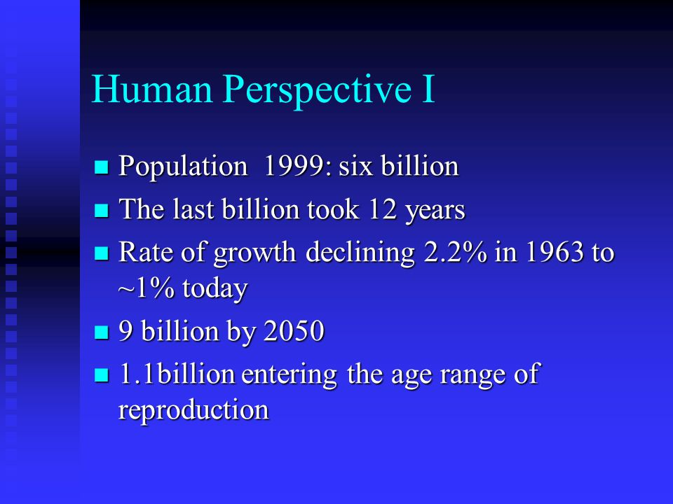 Human Perspective I Population 1999: six billion