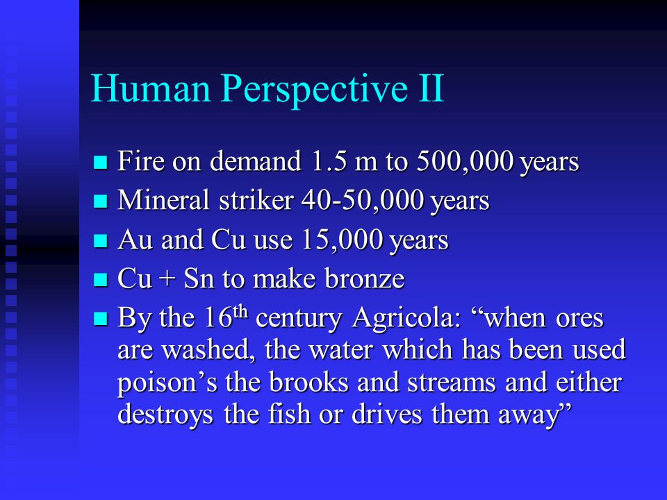 Human Perspective II Fire on demand 1.5 m to 500,000 years