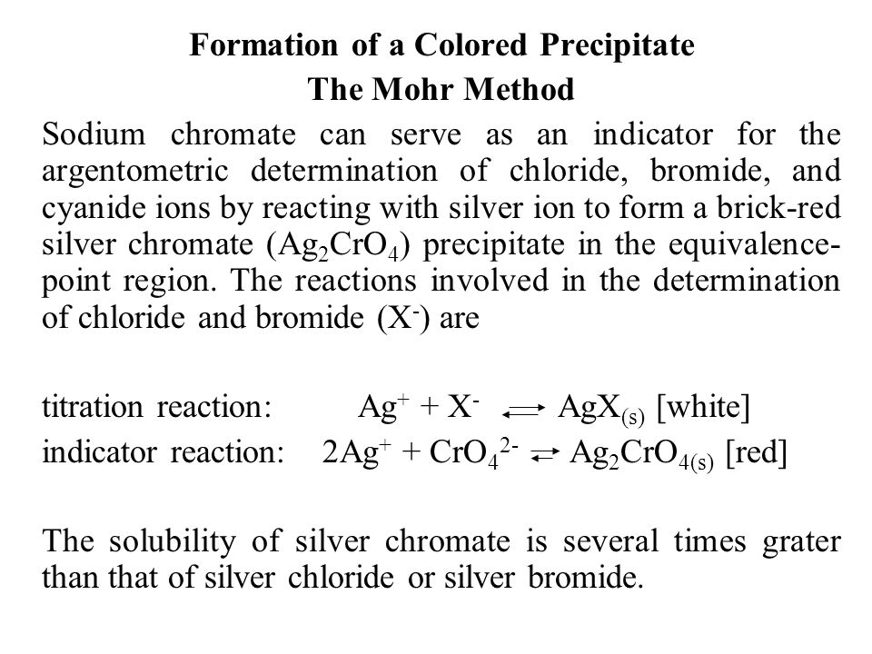 Formation of a Colored Precipitate