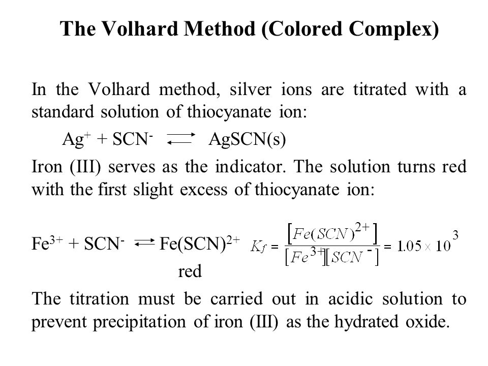 The Volhard Method (Colored Complex)